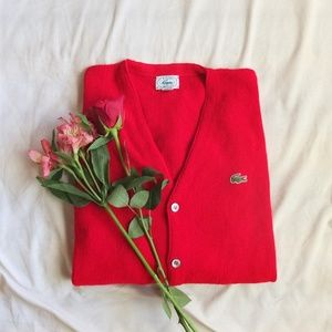 Lacoste Sweaters - Izod Lacoste Vintage Red Cardigan Men's Large